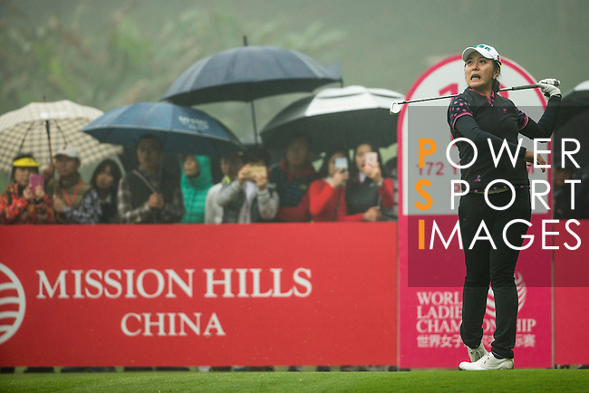 Lin Tzu-Chi of Chinese Taipei tees off at the 13th hole during Round 4 of the World Ladies Championship 2016 on 13 March 2016 at Mission Hills Olazabal Golf Course in Dongguan, China. Photo by Victor Fraile / Power Sport Images