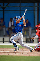 Toronto Blue Jays Jose Rivas (54) at bat during an Instructional League game against the Philadelphia Phillies on October 7, 2017 at the Englebert Complex in Dunedin, Florida.  (Mike Janes/Four Seam Images)