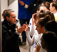 20.02.2020 OUD-HEVERLEE: OHL trainer is giving a handshake in the tunnel before the Belgian's Women's Super League match between Oud-Heverlee Leuven vs KRC Gent Ladies on Friday 20th February 2020, Stadion Oud-Heverlee, Oud-Heverlee, BELGIUM. PHOTO: SEVIL OKTEM