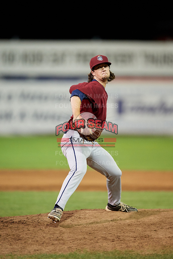 Mahoning Valley Scrappers relief pitcher Kyle Nelson (44) delivers a pitch during a game against the Batavia Muckdogs on August 18, 2017 at Dwyer Stadium in Batavia, New York.  Mahoning Valley defeated Batavia 8-2.  (Mike Janes/Four Seam Images)