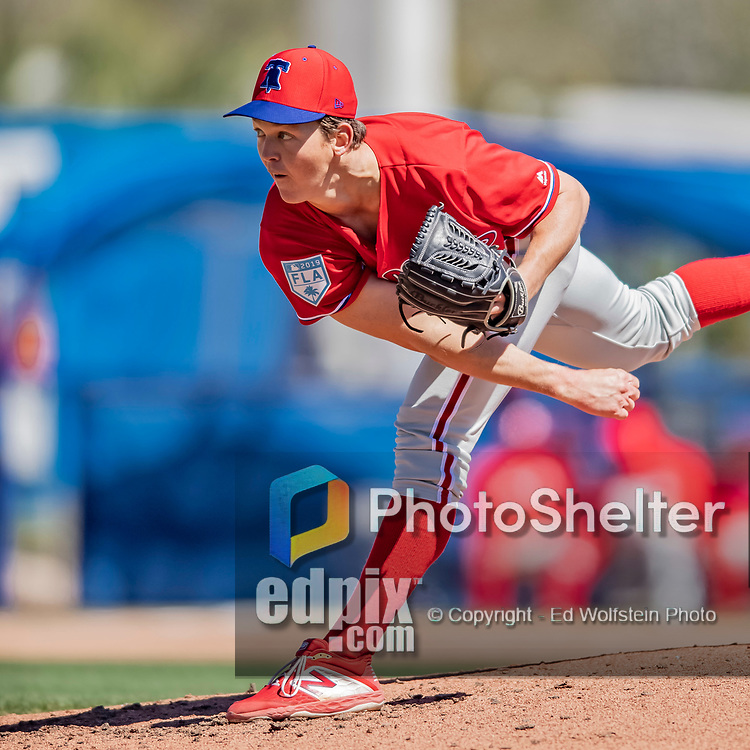 6 March 2019: Philadelphia Phillies pitcher Seth McGarry on the mound during a Spring Training game against the Toronto Blue Jays at Dunedin Stadium in Dunedin, Florida. The Blue Jays defeated the Phillies 9-7 in Grapefruit League play. Mandatory Credit: Ed Wolfstein Photo *** RAW (NEF) Image File Available ***