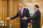 King Felipe VI of Spain (L) receives Senate President Pio Garcia-Escudero during an audience at Zaruzela Palace in Madrid, Spain. June 23, 2013. (ALTERPHOTOS/Victor Blanco)