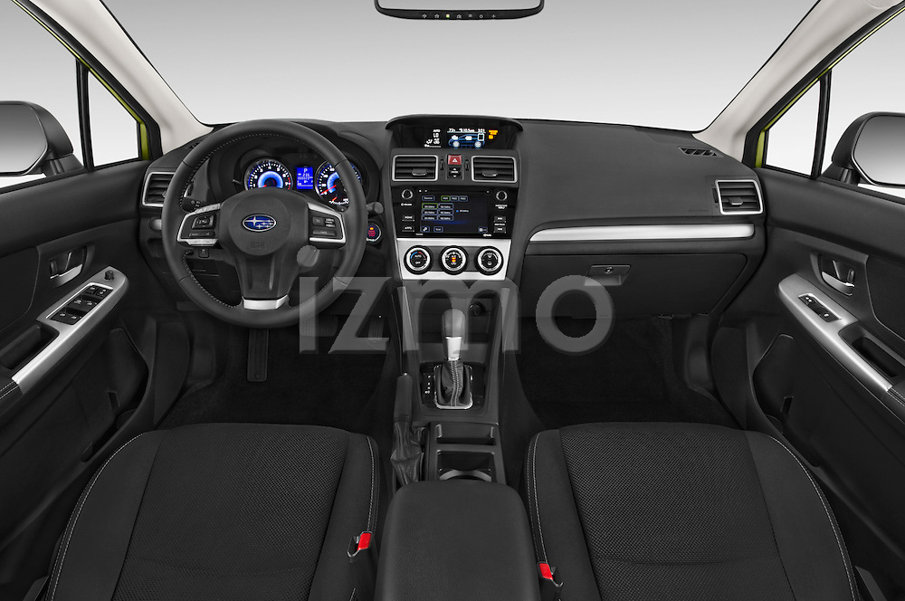 Stock photo of straight dashboard view of a 2015 Subaru Xv Hybrid 5 Door SUV