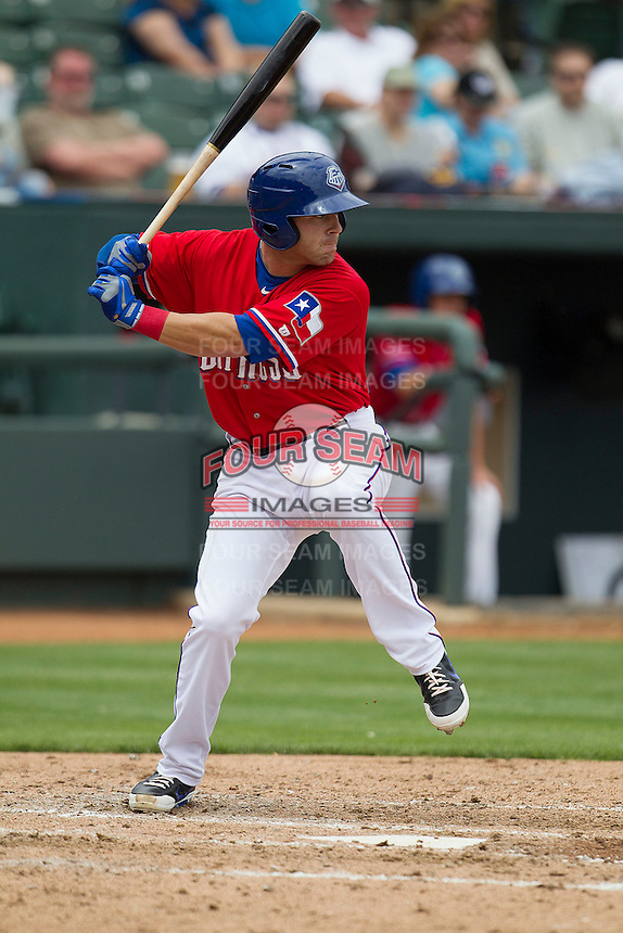 Round Rock Express third baseman Mike Olt #20 at bat against the Omaha Storm Chasers in the Pacific Coast League baseball game on April 7, 2013 at the Dell Diamond in Round Rock, Texas. Omaha beat Round Rock 5-2, handing the Express their first loss of the season. (Andrew Woolley/Four Seam Images).