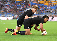 12th September 2021; Cbus Super Stadium, Robina, Queensland, Australia; Rugby International series, New Zealand versus Argentina:  Rieko Ioane goes over and scores a try.
