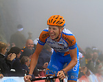 Ryder Hesjedal (CAN) Garmin-Transitions takes 4th place at the summit finish of the Col du Tourmalet during a wet foggy Stage 17 of the 2010 Tour de France running 174km from Pau to Col du Tourmalet, France. 22nd July 2010.<br /> (Photo by Eoin Clarke/NEWSFILE).<br /> All photos usage must carry mandatory copyright credit (© NEWSFILE | Eoin Clarke)