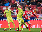 Amath Ndiaye Diedhiou (L) of Getafe CF competes for the ball with Sime Vrsaljko of Atletico de Madrid during the La Liga 2017-18 match between Atletico de Madrid and Getafe CF at Wanda Metropolitano on January 06 2018 in Madrid, Spain. Photo by Diego Gonzalez / Power Sport Images