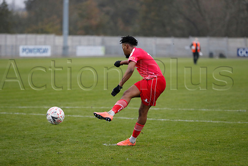 8th November 2020; SkyEx Community Stadium, London, England; Football Association Cup, Hayes and Yeading United versus Carlisle United; Amos Nasha of Hayes & Yeading United during the penalty shoot out