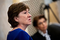 United States Senator Susan Collins (Republican of Maine), listens during a US Senate Small Business and Entrepreneurship Committee hearing in Washington, D.C., U.S., on Wednesday, June 10, 2020. The hearing examines the government's virus relief package that offers emergency assistance to small businesses.<br /> Credit: Al Drago / Pool via CNP/AdMedia