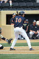 Tanner Morris (10) of the Virginia Cavaliers at bat against the Wake Forest Demon Deacons at David F. Couch Ballpark on May 19, 2018 in  Winston-Salem, North Carolina. The Demon Deacons defeated the Cavaliers 18-12. (Brian Westerholt/Four Seam Images)