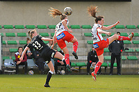 Loes Van Mullem (33) of Eendracht Aalst with Lotte De Wilde (19) of Zulte Waregem and Summer Rogiers (8) of Zulte Waregem pictured during a female soccer game between Eendracht Aalst and SV Zulte Waregem on the fourth matchday of play off 2 of the 2020 - 2021 season of Belgian Scooore Womens Super League , Saturday 1 st of May 2021  in Aalst , Belgium . PHOTO SPORTPIX.BE | SPP | DIRK VUYLSTEKE