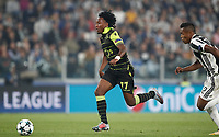 Football Soccer: UEFA Champions League Juventus vs Sporting Clube de Portugal, Allianz Stadium. Turin, Italy, October 18, 2017. <br /> Sporting CP Gelson Martins (l) in action with Juventus Alex Sandro (r) during the Uefa Champions League football soccer match between Juventus and Sporting Clube de Portugal at Allianz Stadium in Turin, October 18, 2017.<br /> UPDATE IMAGES PRESS/Isabella Bonotto