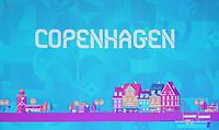 EM Spielort Kopenhagen auf der Videowand - 30.11.2019: UEFA EURO2020 Auslosung, Romexpo Bukarest, DISCLAIMER: UEFA regulations prohibit any use of photographs as image sequences and/or quasi-video.