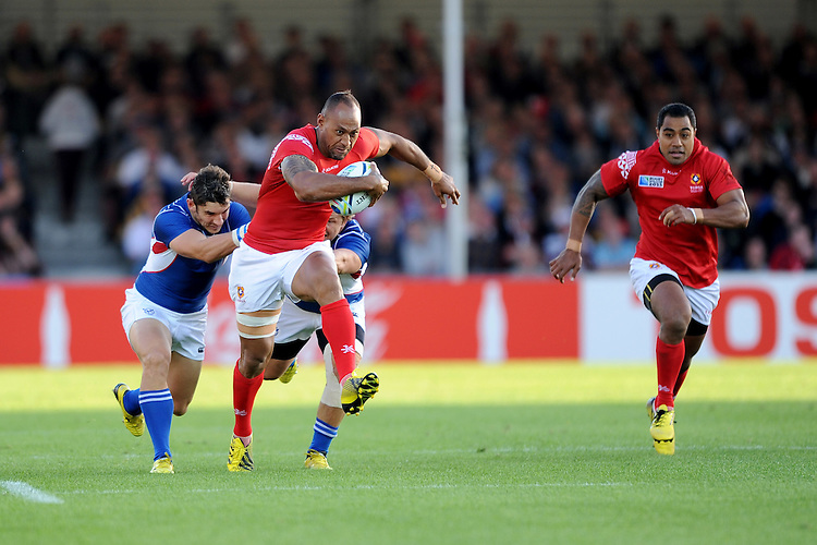 Vungakoto Lilo of Tonga gets into his stride during Match 20 of the Rugby World Cup 2015 between Tonga and Namibia - 29/09/2015 - Sandy Park, Exeter<br /> Mandatory Credit: Rob Munro/Stewart Communications