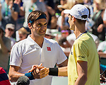 March 15, 2019: Roger Federer (SUI) and Hubert Hurkacz (POL) shake hands after the match. Federer defeated Hurkacz 6-4, 6-4 at the BNP Paribas Open at the Indian Wells Tennis Garden in Indian Wells, California. ©Mal Taam/TennisClix/CSM