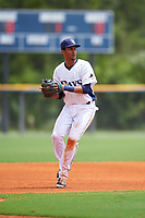 GCL Rays third baseman Carlos Vargas (25) during the second game of a doubleheader against the GCL Twins on July 18, 2017 at Charlotte Sports Park in Port Charlotte, Florida.  GCL Twins defeated the GCL Rays 4-2 after the game was postponed in the second inning to the following day at Charlotte Sports Park in Port Charlotte, Florida.  (Mike Janes/Four Seam Images)