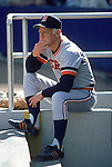 1980:  Manager Sparky Anderson #11 of the Detroit Tigers sits in the dugout during a 1980 season game.  (Photo by Rich Pilling)