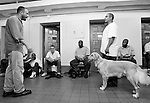 BEACON, NEW YORK: Carl Rothe instructs prisoners during a training class for the puppies at Fishkill Correctional Facility as part of the Puppies Behind program. The program works with prison inmates in New York, New Jersey, and Connecticut to train both explosive detection dogs and service dogs, including ones who help injured soldiers or those suffering from post traumatic stress. Fishkill Correctional Facility is a medium security prison in New York with 22 men in the puppy program.