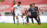 GUADALAJARA, MEXICO - MARCH 24: Jesus Ferreira #9 of the United States moves with the ball during a game between Mexico and USMNT U-23 at Estadio Jalisco on March 24, 2021 in Guadalajara, Mexico.