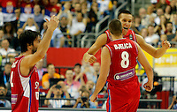 Serbia's Milos Teodosic, Nemanja Bjelica and Bogdan Bogdanovic celebrate during European championship group B basketball game between Spain and Serbia on 05. September 2015 in Berlin, Germany  (credit image & photo: Pedja Milosavljevic / STARSPORT)