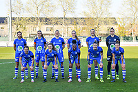 team picture KAA Gent ( Jolet Lommen (9) , Silke Vanwynsberghe (21) , Ella Van Kerkhoven (3) , Feli Delacauw (44) , Lobke Loonen (19) , goalkeeper Nicky Evrard (1) and Rkia Mazrouai (2) , Emma Van Britsom (6) , Lakeesha Eikjken (7) , Heleen Jaques (4) , Chloe Vande Velde (10) ) pictured before a female soccer game between  AA Gent Ladies and Club Brugge YLA on the third matchday of play off 1 in the 2020 - 2021 season of Belgian Scooore Womens Super League , friday 23 th of April 2020  in Oostakker , Belgium . PHOTO SPORTPIX.BE | SPP | STIJN AUDOOREN