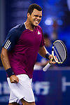 SHANGHAI, CHINA - OCTOBER 14:  Jo-Wilfried Tsonga of France celebrates match point to Florian Mayer of Germany during day four of the 2010 Shanghai Rolex Masters at the Shanghai Qi Zhong Tennis Center on October 14, 2010 in Shanghai, China.  (Photo by Victor Fraile/The Power of Sport Images) *** Local Caption *** Jo-Wilfried Tsonga