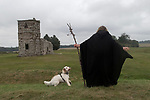 Dorset Druid Grove, Autumn Equinox at Knowlton prehistoric henge monument and ruined 12th and later 14th church. 2021.
