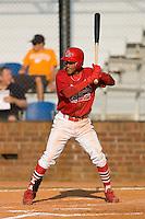 Yunier Castillo #7 of the Johnson City Cardinals at bat versus the Burlington Royals at Howard Johnson Stadium June 27, 2009 in Johnson City, Tennessee. (Photo by Brian Westerholt / Four Seam Images)