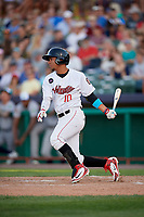 Tri-City ValleyCats third baseman Juan Pineda (10) follows through on a swing hits a single during a game against the Vermont Lake Monsters on June 16, 2018 at Joseph L. Bruno Stadium in Troy, New York.  Vermont defeated Tri-City 6-2.  (Mike Janes/Four Seam Images)