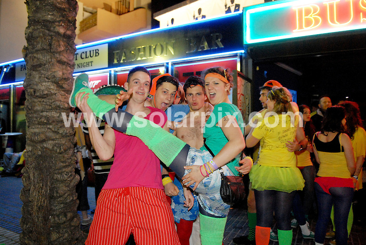 **ALL ROUND EXCLUSIVE PICTURES FROM SOLARPIX.COM**.**WORLDWIDE SYNDICATION RIGHTS**.PIctures show tonight's festivities at Salou fest 2010, in Salou near Barcelona, Spain, where up to 5000 British students take part in sports in the daytime, and then begin drinking on the beach to party until the early hours of the morning. Salou, Spain. 31 March 2010..This pic: University of the Arts students..JOB REF: 11025 NSP    DATE: 31_03_2010.**MUST CREDIT SOLARPIX.COM OR DOUBLE FEE WILL BE CHARGED**.**MUST AGREE FEE BEFORE ONLINE USAGE**.**CALL US ON: +34 952 811 768 or LOW RATE FROM UK 0844 617 7637**