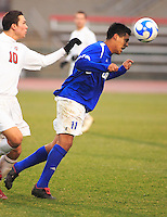 Alfonso Motagalvan (#11 UCSB) heads the ball towards the goal during the Ohio State vs. University of California Santa Barbara. OSU won in an upset against UCSB 4-3.