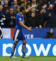 Leonardo Ulloa of Leicester City celebrates scoring his goal to make the score 3-0 during the Barclays Premier League match between Leicester City and Swansea City played at The King Power Stadium, Leicester on 24th April 2016