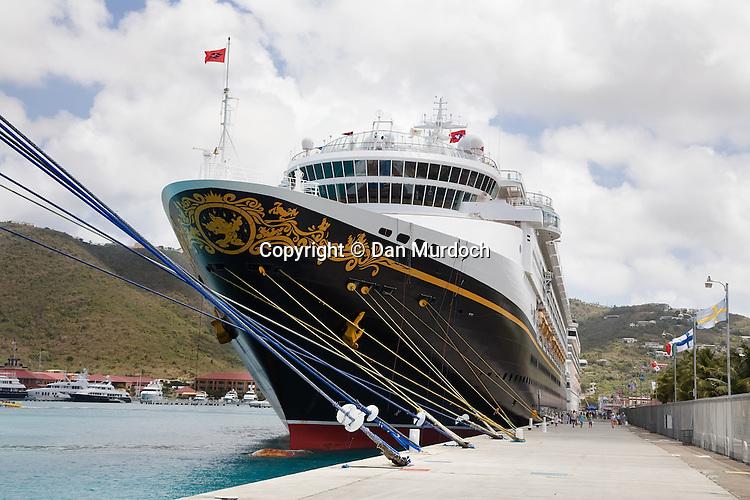 "The Disney cruise ship ""MAGIC"" at dock in the Caribbean island St. Thomas, USVI."