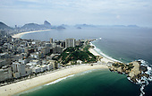 Rio de Janeiro, Brazil. Aerial view of Ipanema and Copacabana beaches and Arpoador.