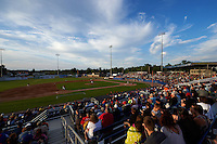 General view of a Batavia Muckdogs game against the Mahoning Valley Scrappers on July 3, 2015 at Dwyer Stadium in Batavia, New York.  Batavia defeated Mahoning Valley 7-4.  (Mike Janes/Four Seam Images)
