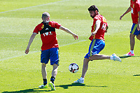 Spain's Andres Iniesta (l) and Diego Costa during training session. June 5,2017.(ALTERPHOTOS/Acero)