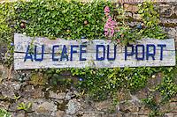 France, Bretagne, (29), Finistère, Presqu'île de Crozon, Crozon, Morgat: Enseigne Café du Port