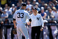New York Yankees pitcher J.A. Happ (33) shakes hands with Tampa Mayor Jane Castor before a Spring Training game against the Toronto Blue Jays on February 22, 2020 at the George M. Steinbrenner Field in Tampa, Florida.  (Mike Janes/Four Seam Images)