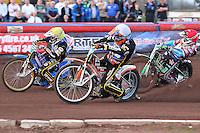 Heat 3: Nicolai Klindt (yellow), Mads Korneliussen (white) and Lewis Bridger - Vortex Lakeside Hammers vs Kings Lynn Stars - Sky Sports Elite League Speedway at Arena Essex Raceway, Purfleet - 23/04/13 - MANDATORY CREDIT: Gavin Ellis/TGSPHOTO - Self billing applies where appropriate - 0845 094 6026 - contact@tgsphoto.co.uk - NO UNPAID USE.