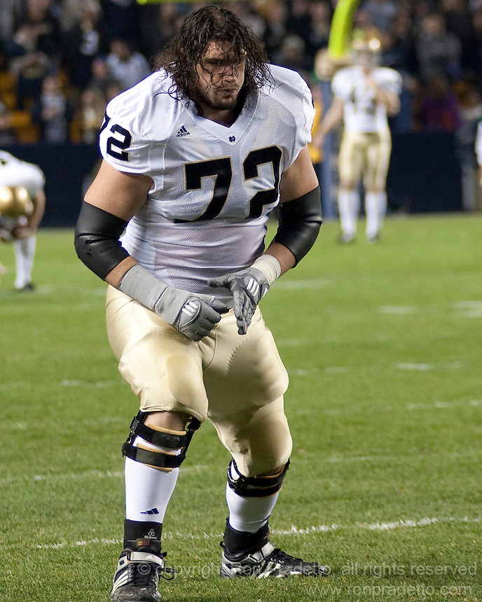 Notre Dame offensive tackle Paul Duncan. The Pittsburgh Panthers defeat the Notre Dame Irish 27-22 at Heinz Field, Pittsburgh Pennsylvania on November 14, 2009..