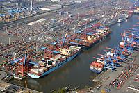 Eurogate und Burchardkai am Waltershofer Hafen: EUROPA, DEUTSCHLAND, HAMBURG, (EUROPE, GERMANY), 09.04.2017 Eurogate und Burchardkai am Waltershofer Hafen