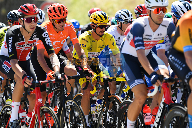 The peloton including Yellow Jersey Julian Alaphilippe (FRA) Deceuninck-Quick Step during Stage 5 of Tour de France 2020, running 183km from Gap to Privas, France. 2nd September 2020.<br /> Picture: ASO/Alex Broadway | Cyclefile<br /> All photos usage must carry mandatory copyright credit (© Cyclefile | ASO/Alex Broadway)