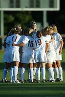 22 August 2005: Martha West, Shari Summer, Leah Tapscott, and Allison Falk during a scrimmage against UC Davis at Maloney Field in Stanford, CA.