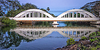 """Rainbow Bridge"", as it is commonly called, was built in 1921 and crosses 161 feet over Anahulu Stream, next to Haleiwa Harbor. At 12 miles, Anahulu Stream is the longest watercourse on Oahu."