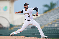 Bradenton Marauders pitcher Adrian Florencio (45) during Game One of the Low-A Southeast Championship Series against the Tampa Tarpons on September 21, 2021 at LECOM Park in Bradenton, Florida.  (Mike Janes/Four Seam Images)