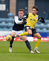 20th February 2021; Dens Park, Dundee, Scotland; Scottish Championship Football, Dundee FC versus Queen of the South; Lee Ashcroft of Dundee challenges for the ball with Niyah Joseph of Queen of the South