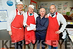 The secretary of the St Brendans Park Residents Association Richard O'Halloran making a presentation to Dan Healy on his last day trading at his shop in Brendans Park, on Saturday.<br /> L to r: Mike and Dan Healy, Richard O'Halloran and Tommy Healy