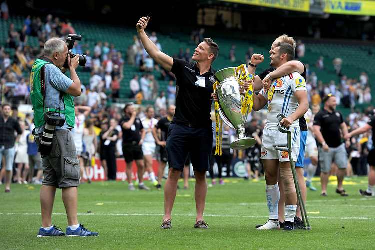 Exeter Chiefs' players celebrate with a selfie after winning the Premiership Rugby Final at Twickenham Stadium on Saturday 27th May 2017 (Photo by Rob Munro)
