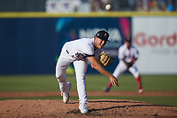 Kannapolis Cannon Ballers starting pitcher Chase Solesky (26) delivers a pitch to the plate against the Charleston RiverDogs at Atrium Health Ballpark on July 4, 2021 in Kannapolis, North Carolina. (Brian Westerholt/Four Seam Images)