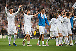 Real Madrid's players celebrating the victory during Champions League 2015/2016 Semi-Finals 2nd leg match at Santiago Bernabeu in Madrid. May 04, 2016. (ALTERPHOTOS/BorjaB.Hojas)